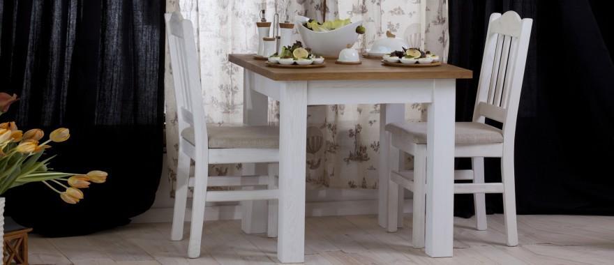 Biely stôl z masívu Roma