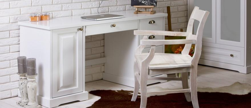 Biely písací stôl z masívu Parma