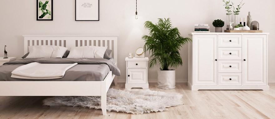 Biely drevený nábytok Parma
